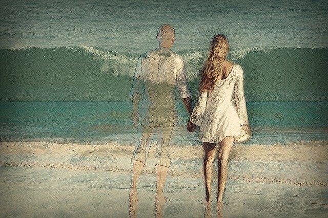 muž s ženou držící se za ruce, láska