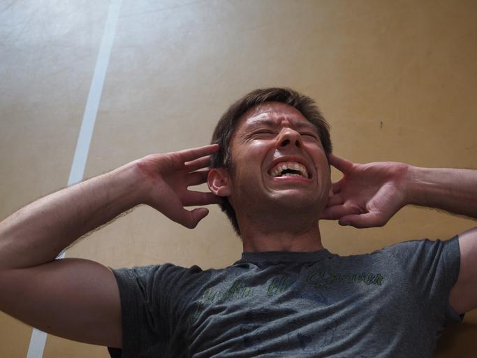 muž u cvičení