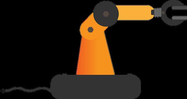 kreslená robotická ruka v bílém prostoru