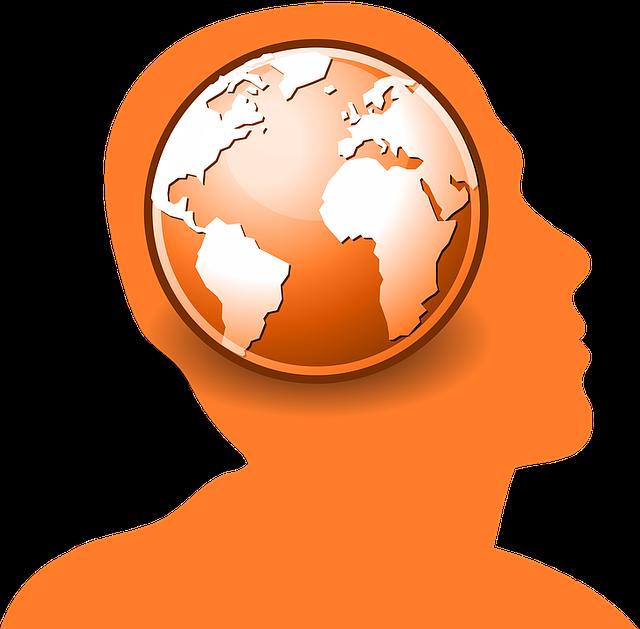 velká zeměkoule v hlavě oranžového obrysu člověka